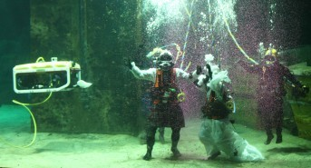 Water way to get married: Couple get hitched in training tank at The Underwater Centre