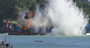 Indonesia sinks 34 illegal foreign fishing boats